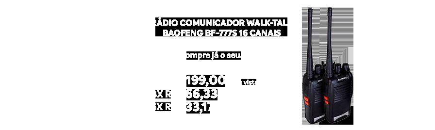 Rádio Comunicador Walk-talk Baofeng Bf-777s 16 Canais  - https://www.multimidia.inf.br/produto/radio_comunicador_walk-talk_baofeng_bf-777s_16_canais/13374