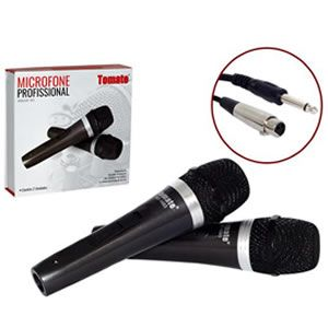 Microfone Com Fio C/2 Unidades Tomate Mt-1003 Mic0