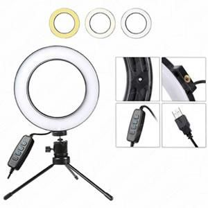 Iluminador Ringlight 16cm c/ Mini Tripe